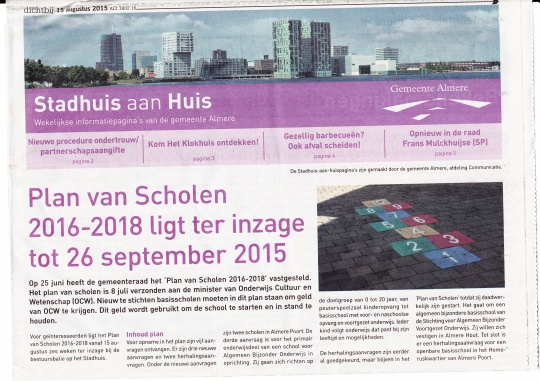 Artikel Scholenplan Almere krant